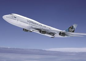 Slik blir Virgin Galatics nye bærefly seende ut med Laucher One under venstre ving.