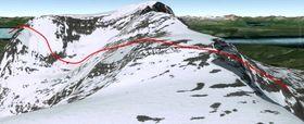 Illustrasjon av flyging 60 meter over terrenget langs NGU linje 950.