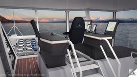 Slik vil Wärtsilä at broen på deres nye ferger skal se ut. Kapteinen har alt innen rekkevidde og snur stolen når fergen skal tilbake.