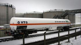 Det første av to LNG-tankvogner med volum på 111 kubikkmeter gass nedkjølt til -163 grader celsius.