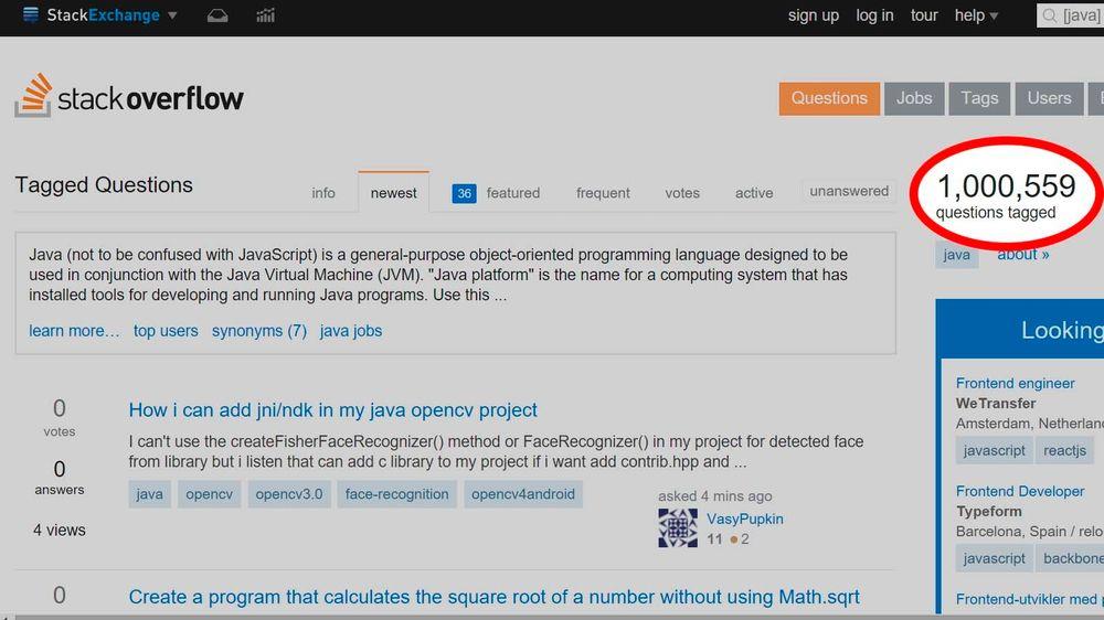 Over én million spørsmål har blitt stilt om Java siden Stackoverflow ble opprettet i 2008.