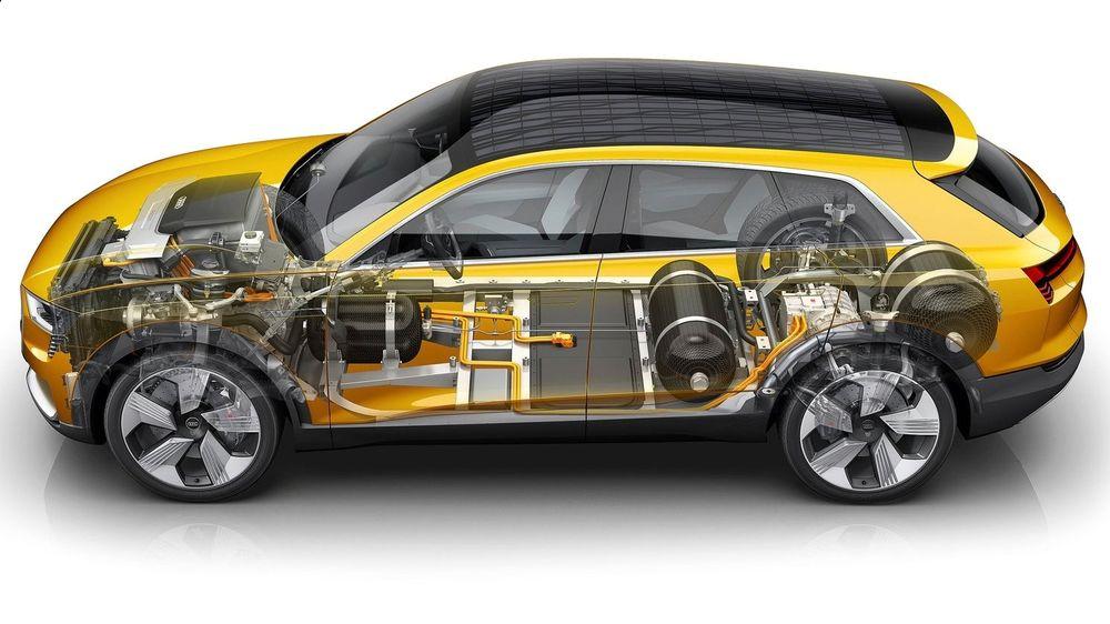Slik er den hydrogen-elektriske drivlinja på Audi h-tron quattro.