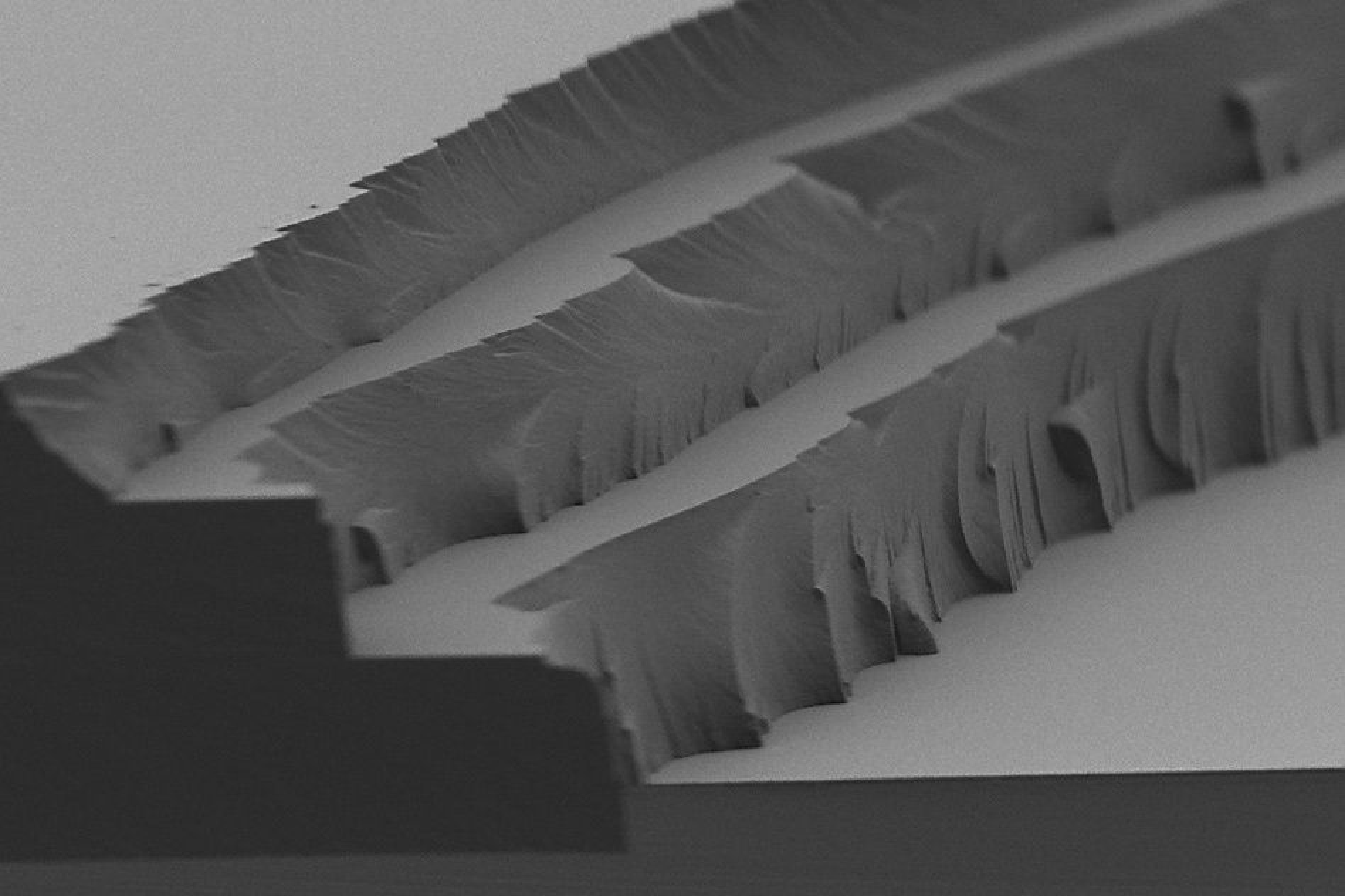 Solar thermal fuel under mikroskop. Her vises lag på fire til fem mikrometer.