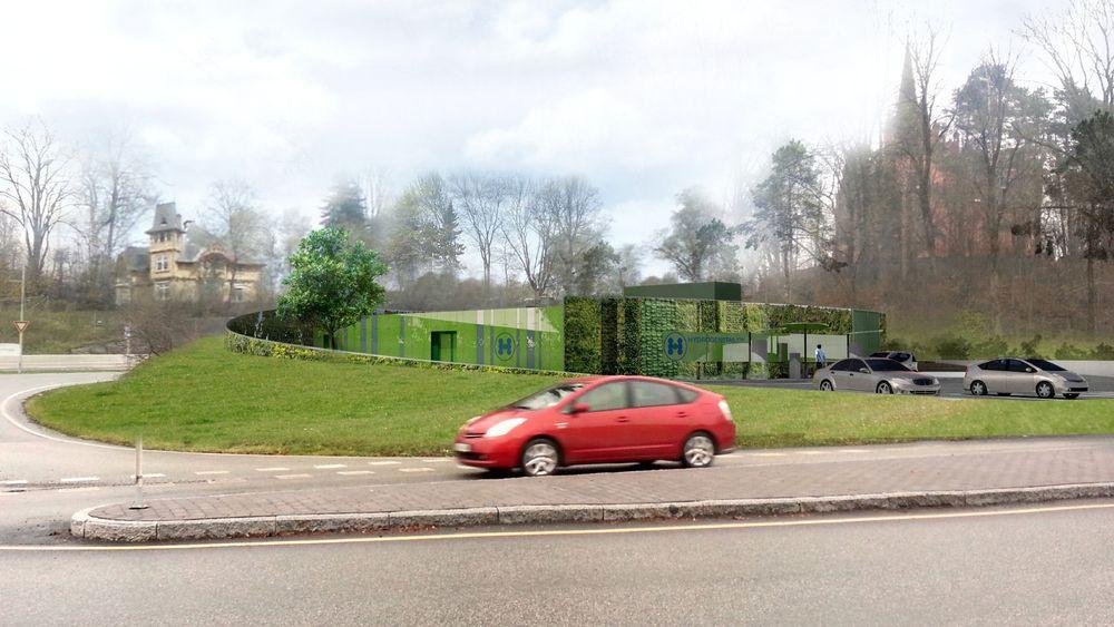 Slik blir Hyops nye hydrogenstasjon på Høvik. – Vi er glad for å kunne tilby en arena for å få ny, miljøvennlig teknologi på plass i nærmiljøet, sier kirkeverge i Bærum, Svein Erik Andersen.