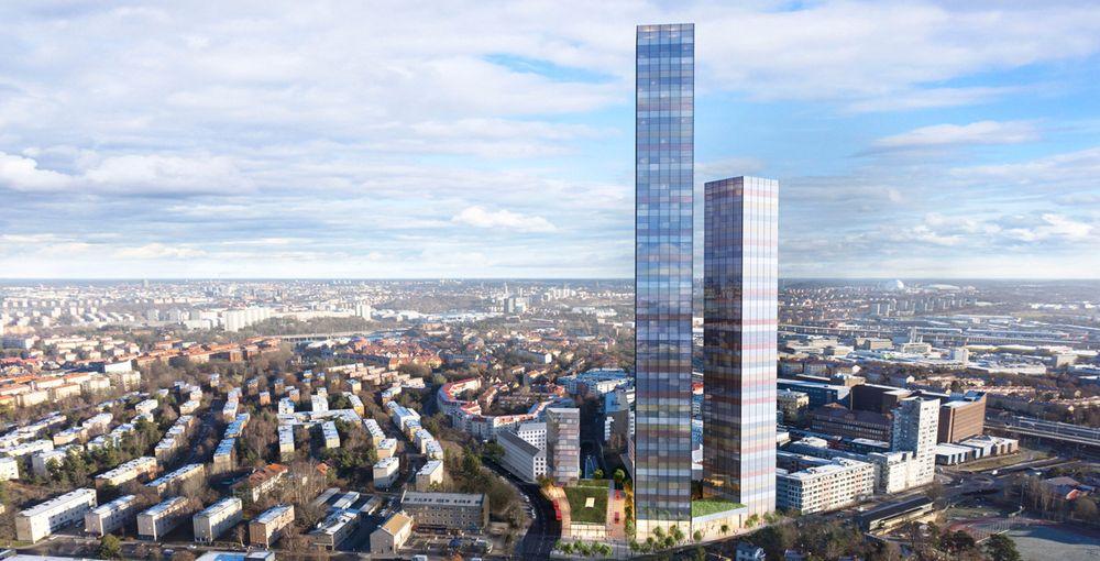 Nye Tellus Towers kommer til å bestå av fire bygg, derav to skyskrapere og to lavere bygg.