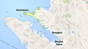 Bergen har planer for landstrøm til flere kaier i byen.