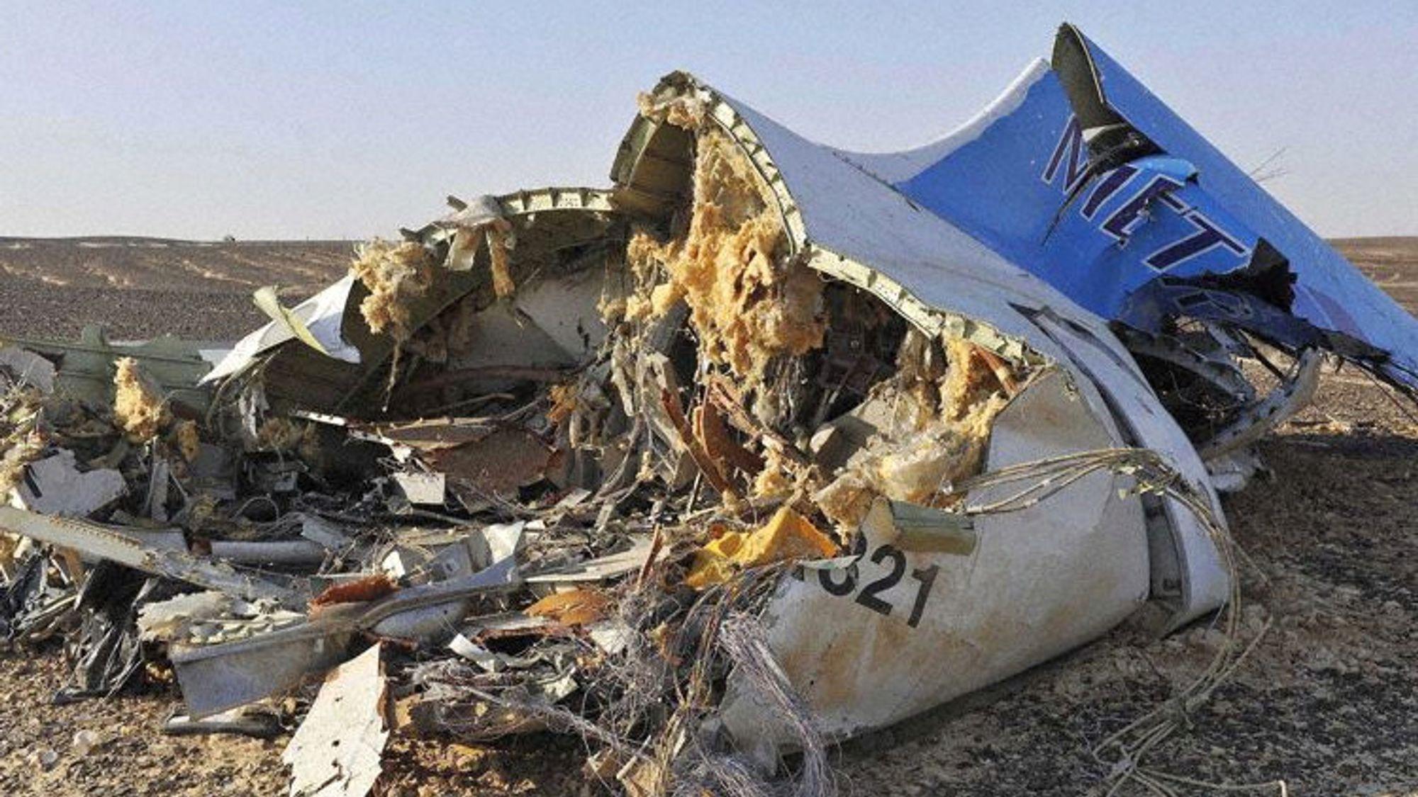 Restene av A321-flyet fra Metrojet som styrtet i Egypt for litt over to måneder siden.