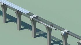 Hyperloopgår i rør på søyler, med en hastighet på inntil 1200 kilometer i timen.