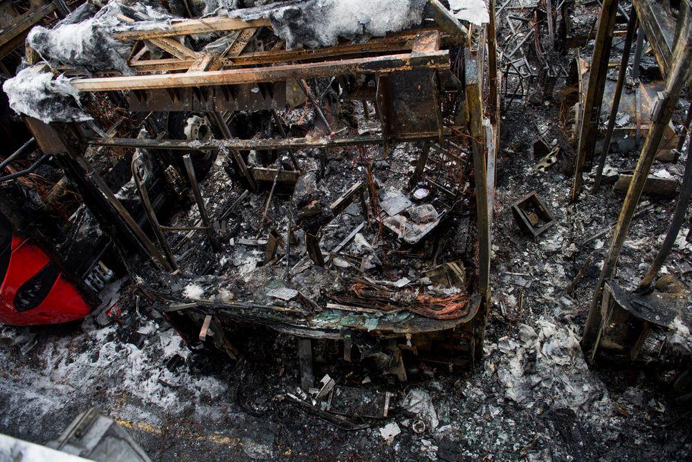 De fire hybridbussene ble totalskadet i brannen på Furubakken natt til mandag.