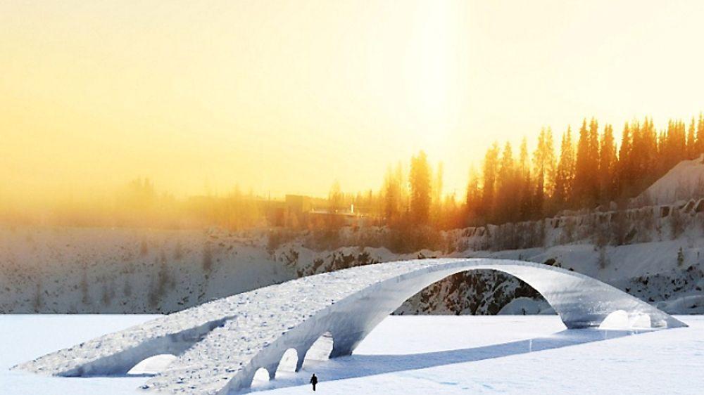 Den 13. februar skal en bil kjøre over den 65 meter lange isbrua.