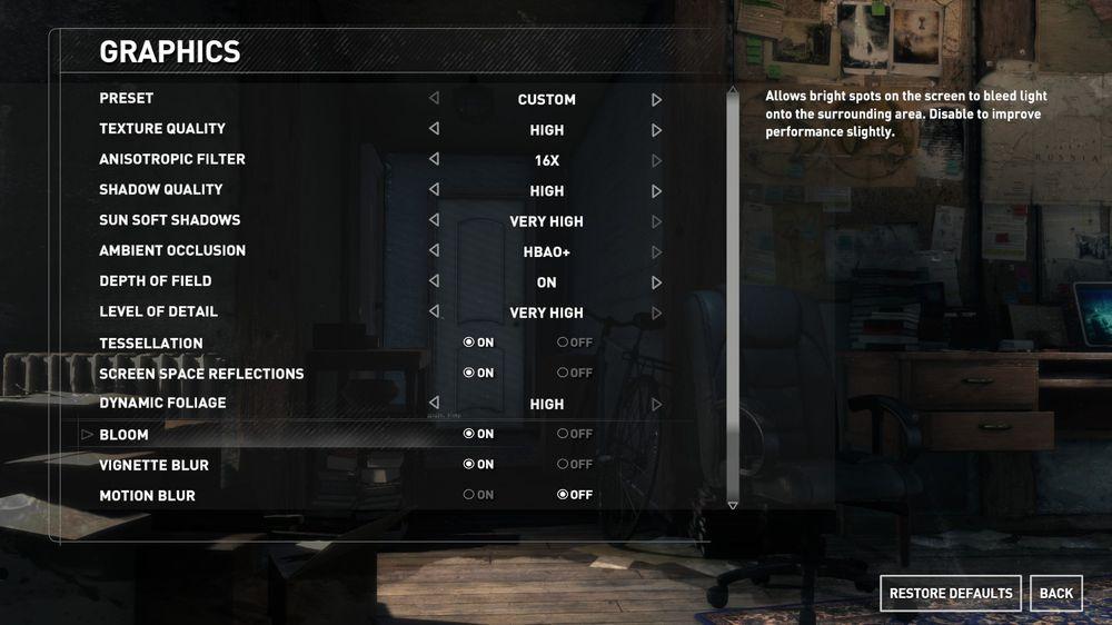 Grafikkmenyen gir moglegheit til å skreddarsy spelet til PC-en din.