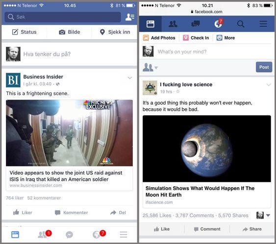 LITEN FORSKJELL: Facebook-appen og nettsiden på mobil tilbyr mer eller mindre det samme.