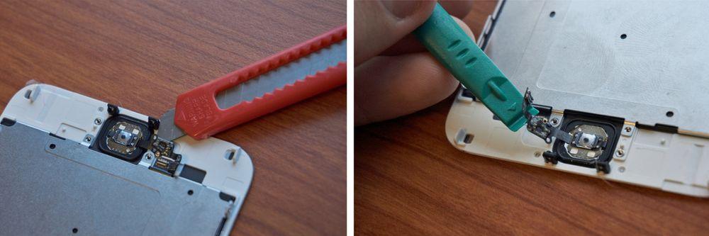 For å få kabelen løs måtte vi ty til en brytebladkniv, som vi hadde sløvet på forhånd. Etter litt pirking løsnet den – uskadet og klar for gjenbruk!