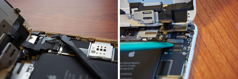 VENSTRE: med en liten «spudger» eller annet plastredskap av samme art får vi lett poppet av kablene. HØYRE: én kabel igjen. Etter dette skal de to delene være helt frakoblet.