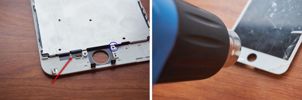 Denne lille tilkoblingen (markert med rød pil) må av før vi kan fjerne bakplata. Å varme opp limet er i den sammenheng helt essensielt, for ikke å ødelegge kabelen.