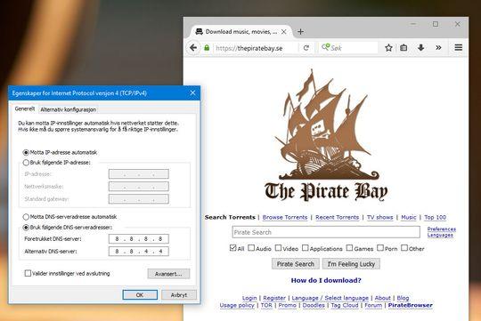 Selv om internettleverandøren vår blokkerte tilgangen til blant annet The Pirate Bay slik at vi fikk opp den røde «Stopp»-meldingen ovenfor, var det en lett sak å omgå sperren. Alt som skulle til våre å endre DNS-innstillingene.