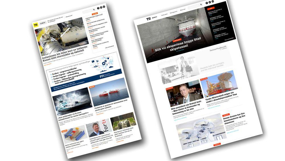 Ny design på tu.no: Til venstre den vanlige nyhetsmodusen, til høyre den nye helgemodusen, som har som hensikt å dyrke de mest dyptgående reportasjene.