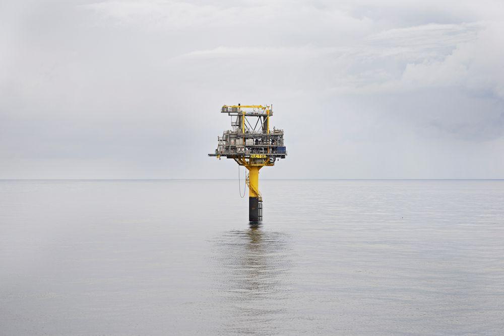 En ubemannet brønnhodeplattform på Tyra Sydøst-feltet, som er knyttet til Tyra-feltet i Danmark. Hit går også gassen fra norske Trym.