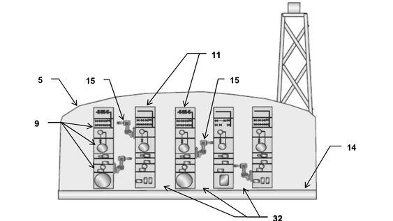 Arbeidsroboter (15) kan bevege seg vertikalt inne i anlegget.