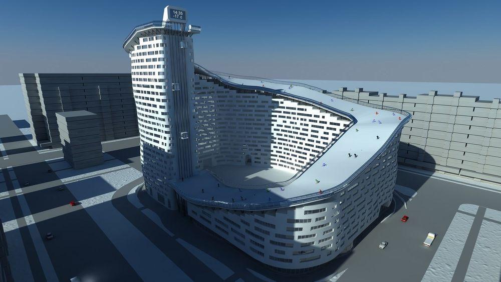 Denne boligblokka har 326 meter slalåmbakke på taket