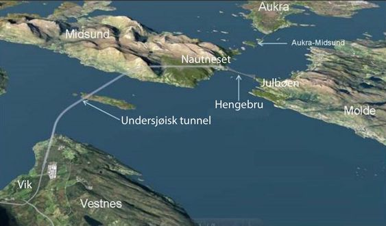 Romsdalsfjorden skal krysses med en undersjøisk tunnel fra Vik i Vestnes kommune til Otrøya i Midsund kommune, og med hengebru fra Otrøya til Julbøen i Molde kommune.