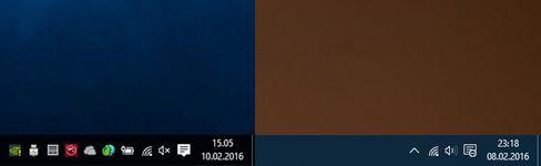 I systemstatusfeltet til høyre har jeg faktisk glemt å skjule varslingssenteret, og alle mindre brukte ikoner ligger skjult. Det ser da ganske ryddig ut? I alle fall om en sammenligner med systemstatusfeltet til venstre, som er et langt vanligere syn, men verken mer brukervennlig eller penere.