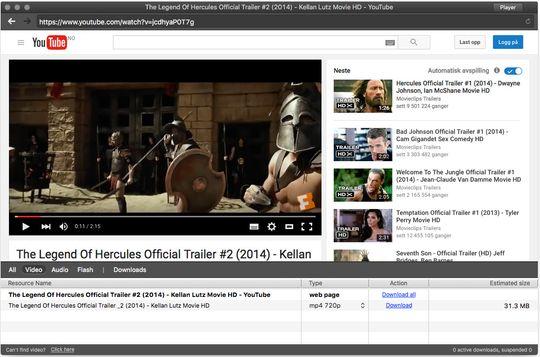 Videoer som spilles av fra nettsider dukker opp i listen nederst. Så er det bare å velge formatet du vil lagre i og trykke «Download».