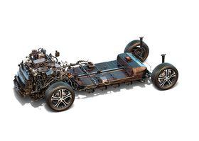 Det er elbilene som vil fåstørst økning i energitettet som følgeav utstrakt bruk av lettvektsmaterialer i konstruksjonen, ettersom det kan brukes mindre batterier til å drive en bil like langt. Bildet viser drivlinjen til Opel Ampera-e/Chevrolet Bolt.