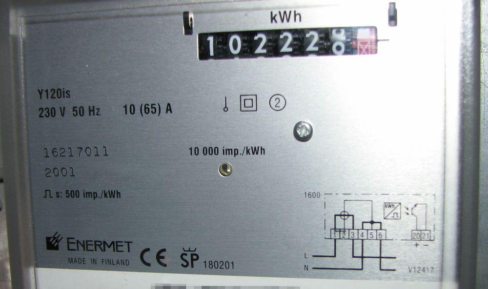 Utgangspunktet for prosjektet - en vanlig strømmåler i et sikringsskap.