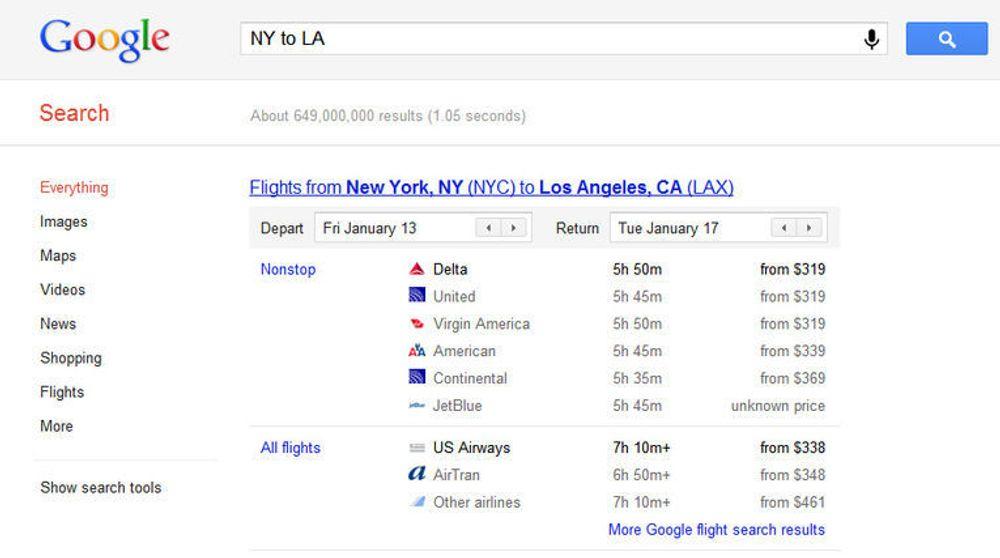 Ved søk etter flyreiser i Google, kommer Googles egen tjeneste opp øverst på resultatsiden. Foreløpig støtter den kun innenlandsreiser i USA.