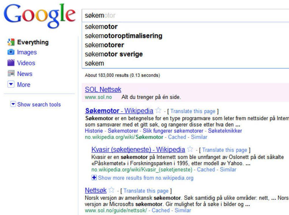 Med Google Instant kommer søkeresultatene fram allerede før man er ferdig med å skrive.