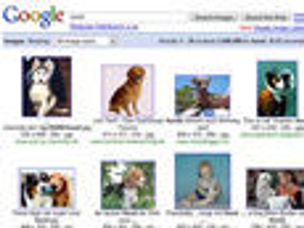 Vuestar hevder de har patent på bruk av bildelenker, slik de brukes blant annet i Googles bildesøk (bildet).