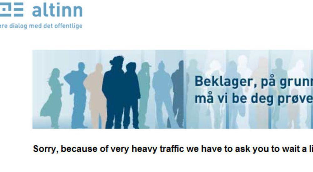 Svært mange ble møtt med denne plakaten da de logget seg på Altinn for å sjekke selvangivelsen tirsdag morgen.
