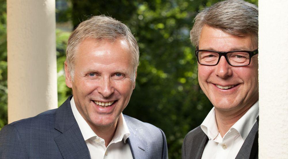 Per Høiby, adm. direktør i First House, er svært fornøyd med å hente Morten Andreas Meyer som ny partner til selskapet. Meyer til høyre i bildet.