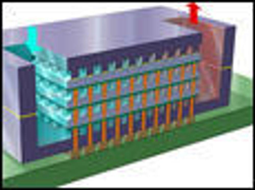 Skisser over IBMs vannkjølte 3D-brikke.