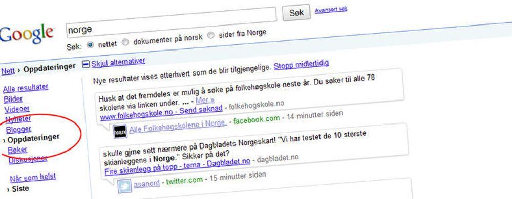 Google med norske nyheter på direkten