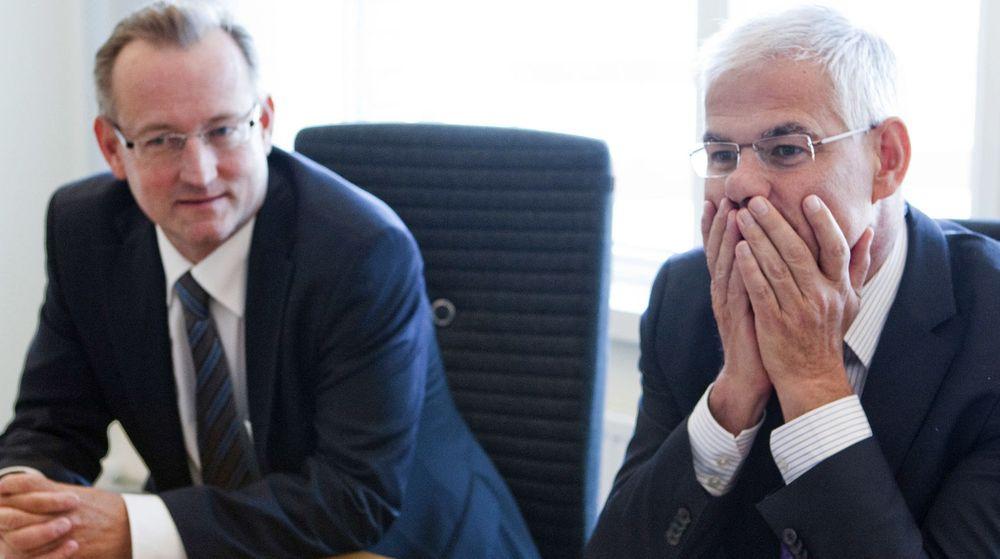 Logica, her med norgessjef Gisle M. Eckhoff og konsernsjef Andy Green, kan bli gjenstand for budkrig. Bildet ble tatt under et intervju de to toppene gjorde med digi.no i fjor.