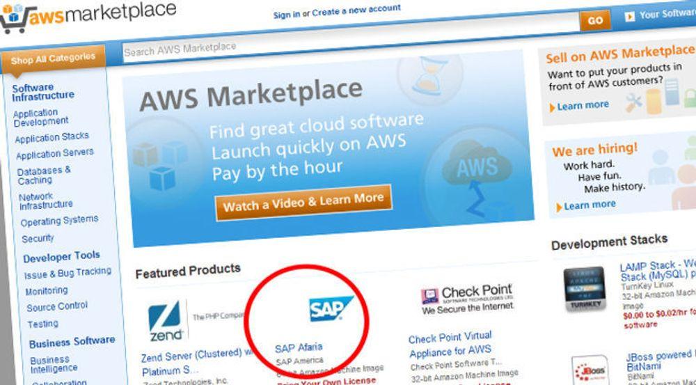 SAP Afaria er tilgjengelig, fullt konfigurert, fra Amazons nettskymarked. SAP lover å gjøre flere serverpakker tilgjengelig på AWS Marketplace.