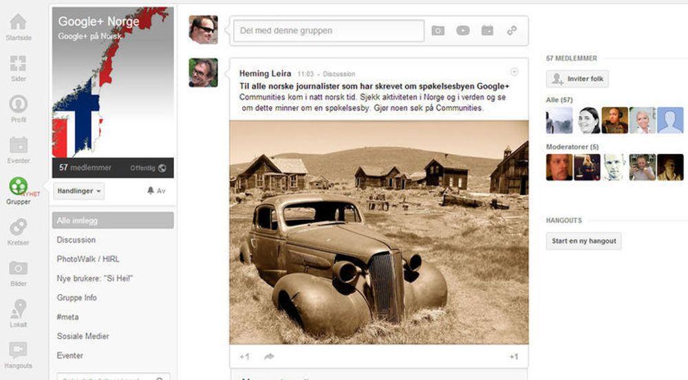 Mange av de norske brukerne av Google+ vil overhodet ikke være med på at Google+ er en spøkelsesby. Her en oppfordring til journalister (og sikkert også andre) i den nyopprettede gruppen Google+ Norge.