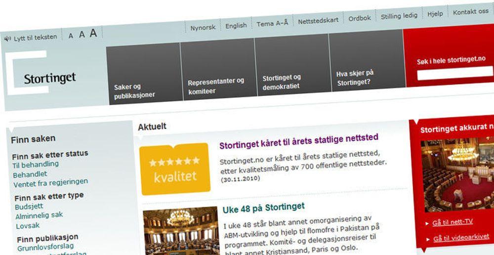 Stortinget.no er best av de statlige nettsidene, ifølge myndighetenes egen kåring. I 2009 vant regjeringen.no.