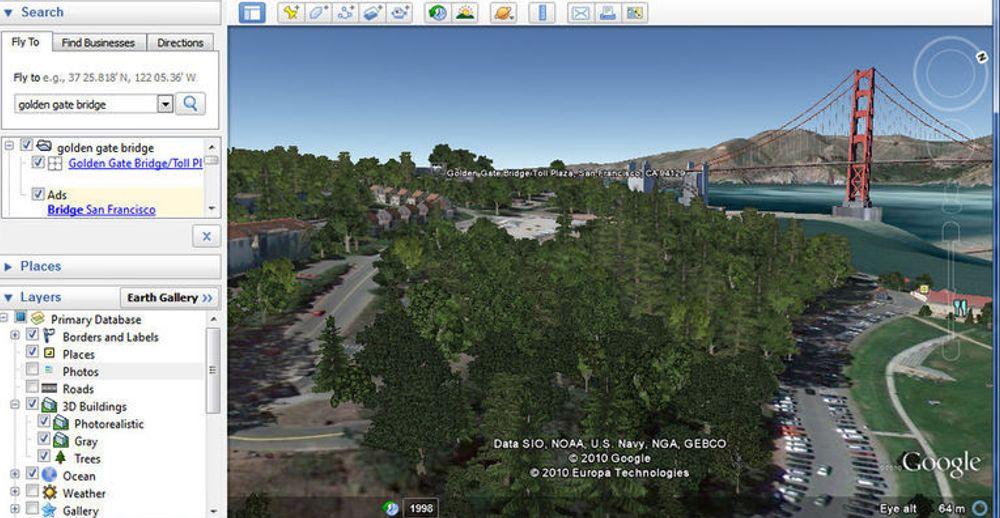 Google Earth 6 kan vise 3D-modeller av trær. Her vises landskapet i nærheten av Golden Gate Bridge i San Francisco.