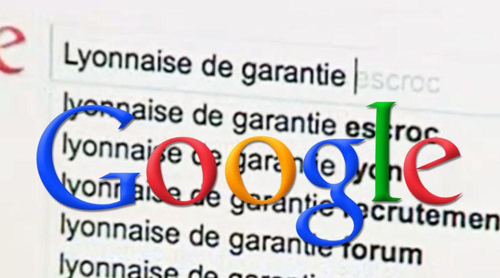 """Google måtte fjerne fjerne ordet """"escroc"""" fra Google Suggest når brukerne skriver """"Lyonnaise de Garantie"""" i søkefeltet."""