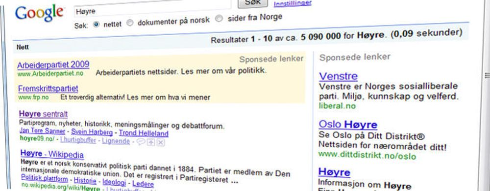 Venstre liker ikke at partier kjøper annonseplass ved søk etter deres partinavn. At de selv dukket opp ved søk etter Høyre skal ikke ha vært bevisst.