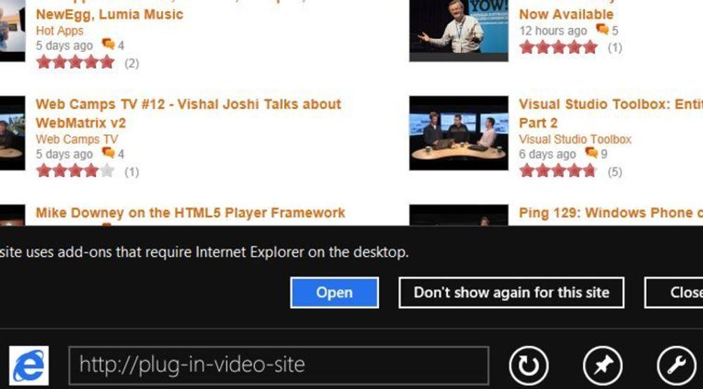 Metro-utgave av Internet Explorer i Windows 8 vil vise brukeren denne dialogen dersom nettstedet gjør det klart at det ikke kan brukes med full funksjonalitet uten at nettleseren støtter plugins.
