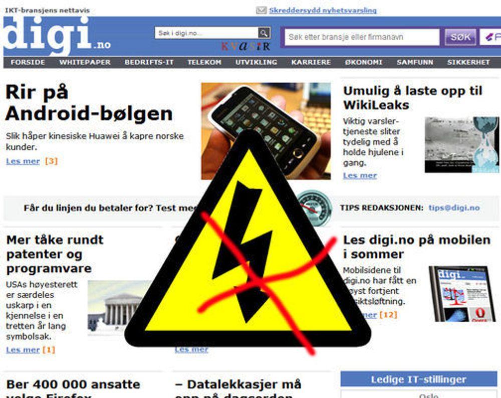 Digi.no slått ut av strømbrudd