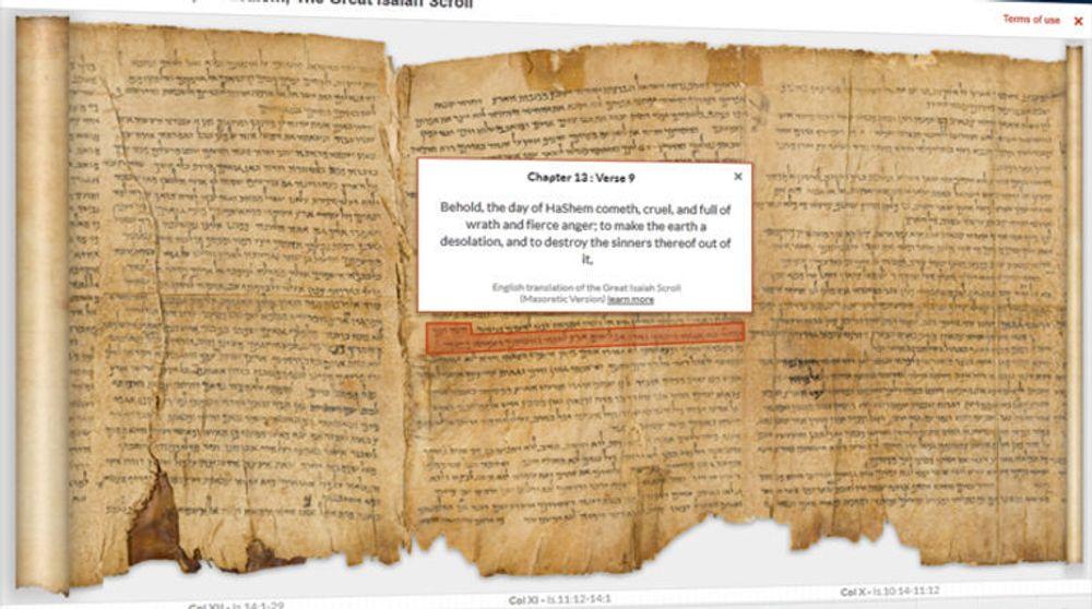 Google og nasjonalmuseet i Israel lanserer nå Dødehavsrullene i nettutgave.