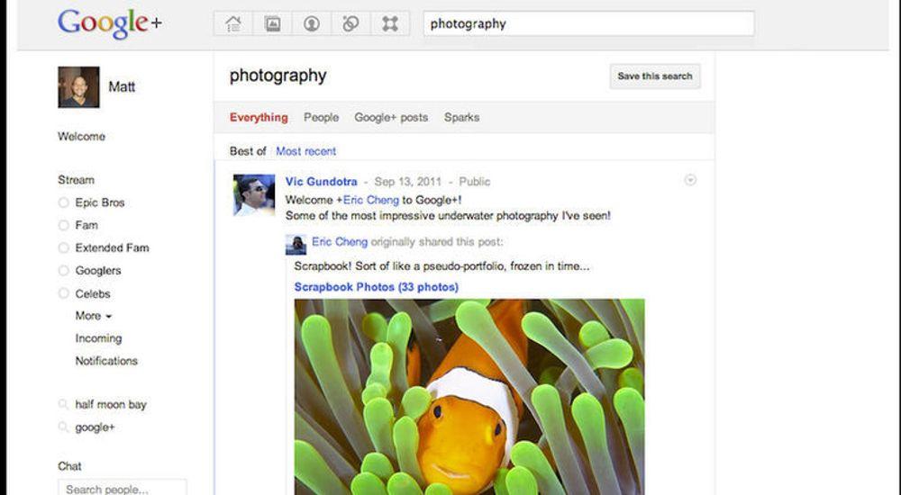 Fotografer er blant grupperingene som allerede ser ut til å ha funnet seg til rette i Google+. Med den nye søkefunksjonen skal det være enklere å finne fram til for eksempel fotosamlinger i tjenesten.