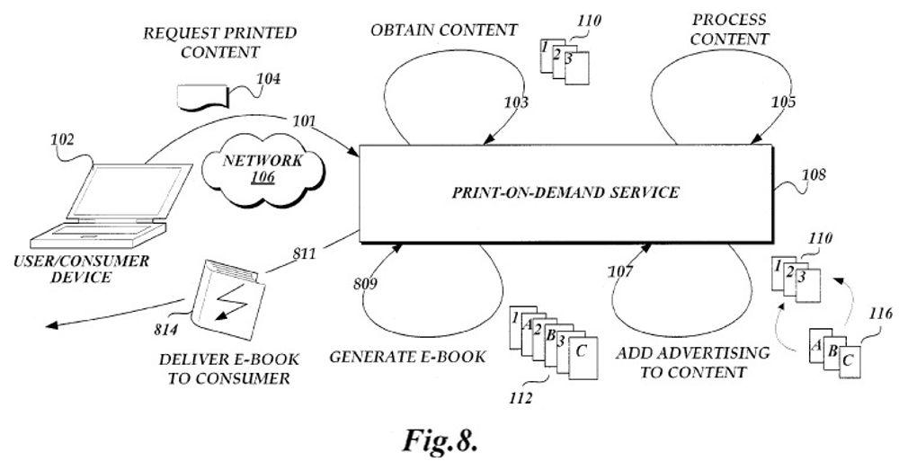 Amazon tenker seg en tjeneste der e-bøker framstilles i det den lastes ned, slik at de kan utstyres med reklame skreddersydd kundens registrerte kjøpsprofil. Illustrasjonen er fra patentsøknaden.
