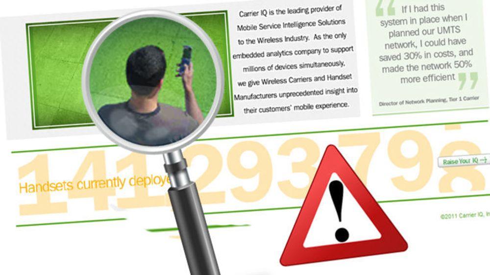 Det kontroversielle spionprogrammet fra Carrier IQ brukes ikke av Telenor eller Netcom. Carrier IQ er imidlertid installert på over 141 millioner telefoner, ifølge selskapets egne tall.