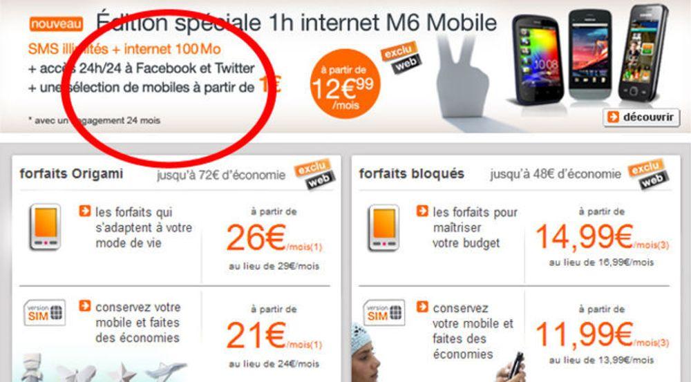 Den franske mobiloperatøren Orange tilbyr billigere tilgang til Facebook og Twitter enn til andre nettjenester.